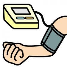 血圧と脈拍を測ります。